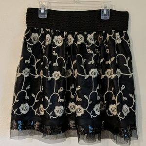 Coco + Carmen silky skirt with lace overlay